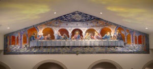 Last Supper glass mosaic 2019 . 33'x 10' St. Bernard Roman Catholic Church. Scottsdale, Az